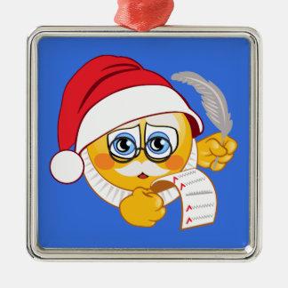 Weihnachtsverzierung Weihnachtsmanns Emoji Silbernes Ornament