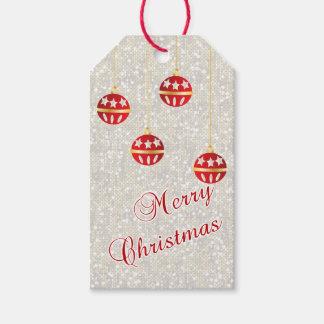 Weihnachtsverzierungen auf weißen Pailletten Geschenkanhänger