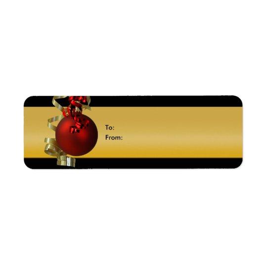 Weihnachtsverzierungsgeschenk etikettiert Bandrotg Rücksendeetiketten