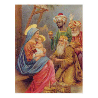 WeihnachtsVintage Nativity-Jesus-Illustration Postkarte