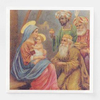 WeihnachtsVintage Nativity-Jesus-Illustration Serviette