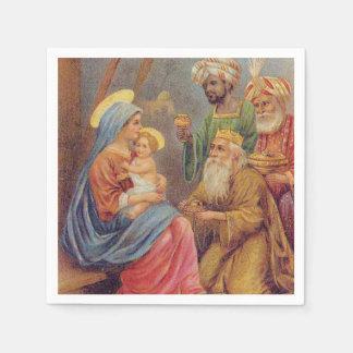 WeihnachtsVintage Nativity-Jesus-Illustration Servietten