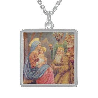 WeihnachtsVintage Nativity-Jesus-Illustration Sterling Silberkette