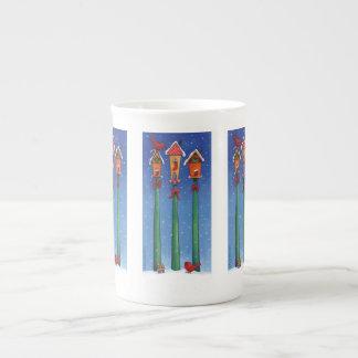 Weihnachtsvogel-Haus-Tasse Prozellantasse