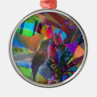 Weihnachtsvogel holt Geschenke Rundes Silberfarbenes Ornament