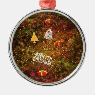 Weihnachtswald Rundes Silberfarbenes Ornament