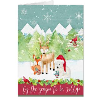 Weihnachtswatercolor-Waldrotwildfox-Bärn-Kardinal Karte
