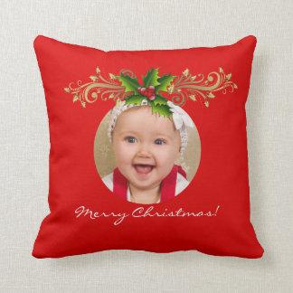 WeihnachtsweihnachtsFoto-Schablonen-Babyfamilie Kissen