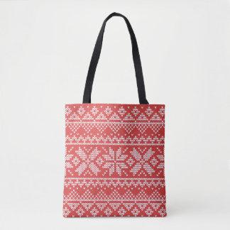 Weihnachtsweiße u. rote Schneeflocke-strickendes Tasche