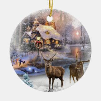 Weihnachtswinter-Wildnis-Hütte Rundes Keramik Ornament