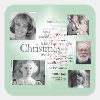Weihnachtswort-Kunst-Foto-Schablonen-Aufkleber Quadratischer Aufkleber