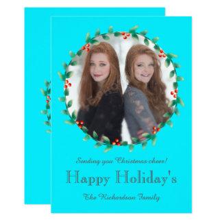 Weihnachtswreath-aquamarine Foto-Karte 12,7 X 17,8 Cm Einladungskarte