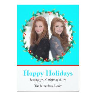 Weihnachtswreath-aquamarine und weiße Foto-Karte 12,7 X 17,8 Cm Einladungskarte