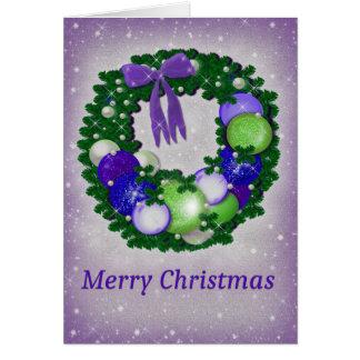 WeihnachtsWreath in Lila und in Grünem Karte