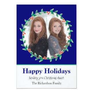 Weihnachtswreath-königliches Blau-und 12,7 X 17,8 Cm Einladungskarte