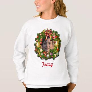 WeihnachtsWreath mit Ihrem Foto in der Mitte Sweatshirt