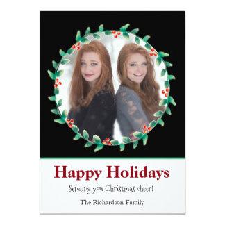 Weihnachtswreath-Schwarzweiss-Foto-Karte 12,7 X 17,8 Cm Einladungskarte