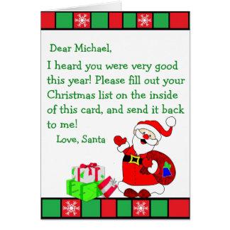 Weihnachtswunsch-Buchstabe von Weihnachtsmann Karte