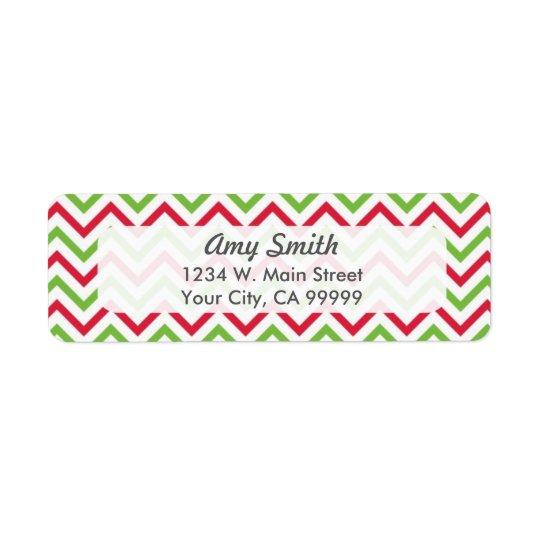 WeihnachtsZickzack Muster rot und grün Rücksendeetikett