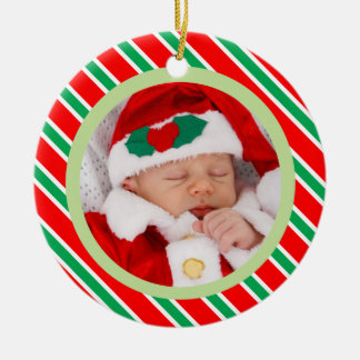 Weihnachtszuckerstange Stripes Rahmen-Baby-Foto Keramik Ornament