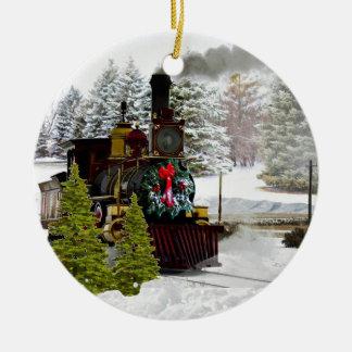 Weihnachtszug kommt zur Stadtverzierung Keramik Ornament