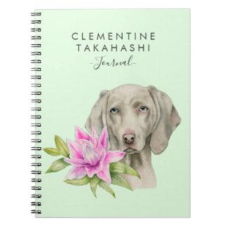 Weimaraner Hunde-und Lilien-Aquarell | addieren Notizblock