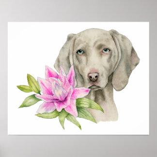 Weimaraner Hunde-und Lilien-Aquarell-Malerei Poster
