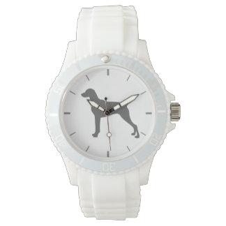 Weimaraner weiße Silikon-Dackel-Hundeuhr Uhr