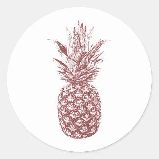 Wein-Ananas-Hochzeits-Aufkleber Runder Aufkleber
