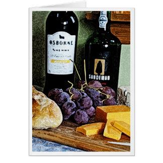 Wein-Brot-Käse-und Trauben-Stillleben Karte