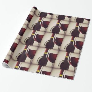 Wein-Flaschen-und Glas-Entwurfs-Packpapier Geschenkpapier