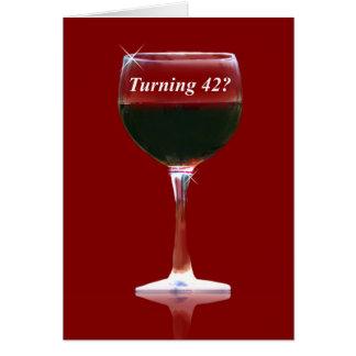 Wein-glückliche 42. Geburtstags-Karte Karte