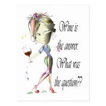 Wein ist die Frage lustigen Postkarte