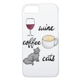 Wein-Kaffee-Katzen-Fall iPhone 8/7 Hülle