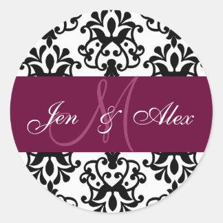 Wein-Monogramm nennt Damast-Hochzeits-Siegel Runder Aufkleber