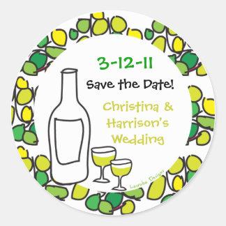 Wein retten die Hochzeits-Datums-Aufkleber Runder Aufkleber