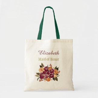 Wein-Rosen-Blumenbrautbrautjungfer mit Namen Tragetasche