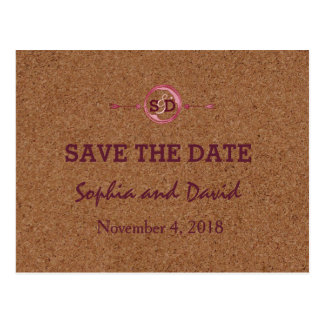 Weinberg-Korken befleckt Rotwein SAVE THE DATE Postkarte