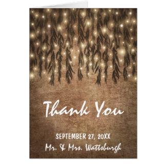 Weinende Weide-Baum-Vintage Hochzeit danken Ihnen Mitteilungskarte