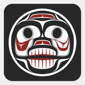 Weinender Schädel Nordwestpazifikküste Haida Quadratischer Aufkleber