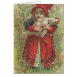 Weinlese-Nettes und Huhn, Alles Gute zum Geburts Grußkarte