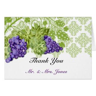 Weinstock-Garten-Hochzeit danken Ihnen Karte