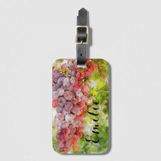 Weintrauben auf dem Rebe-Gepäckanhänger Kofferanhänger