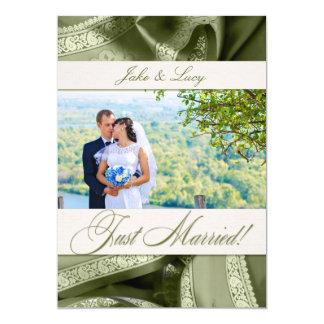 Weise Grün-gerade verheiratete Foto-Mitteilung 12,7 X 17,8 Cm Einladungskarte