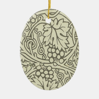 Weises Grün Grapevile William Morris Muster Ovales Keramik Ornament