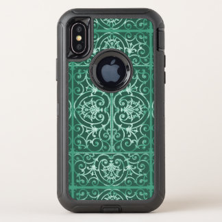 Weises Grün scrollwork Muster OtterBox Defender iPhone X Hülle