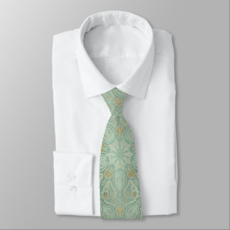 Weises Grün und Goldklassische Mandala-Krawatte Krawatte