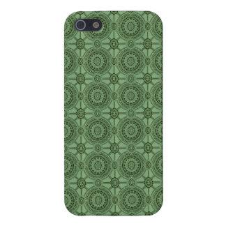 Weises Grün-Vintages geometrisches Blumenmuster iPhone 5 Hüllen