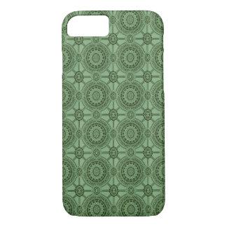 Weises Grün-Vintages geometrisches Blumenmuster iPhone 8/7 Hülle