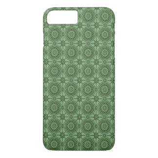 Weises Grün-Vintages geometrisches Blumenmuster iPhone 8 Plus/7 Plus Hülle